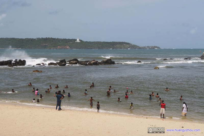 People at Galle Beach