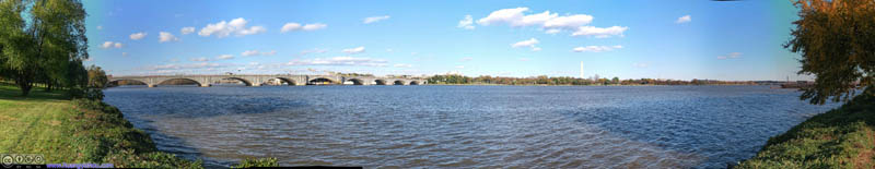 Arlington Memorial Bridge and Washington Monument across Potomac River