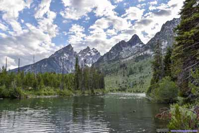 View of Grand Teton behind String Lake