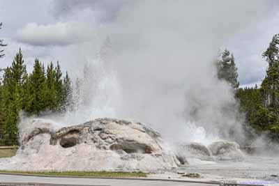 Grotto and Rocket Geyser Erupting