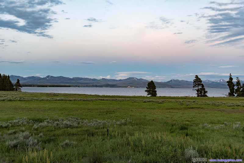 Meadow and Mountains across Yellowstone Lake