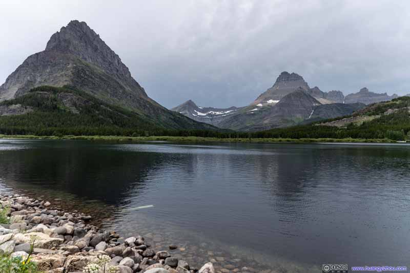 Mount Grinnell and Mount Wilbur across Swiftcurrent Lake
