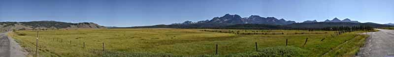 Meadows by Stanley before Sawtooth Mountains