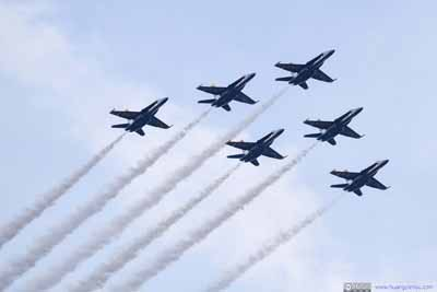Navy Blue Angel Flyover