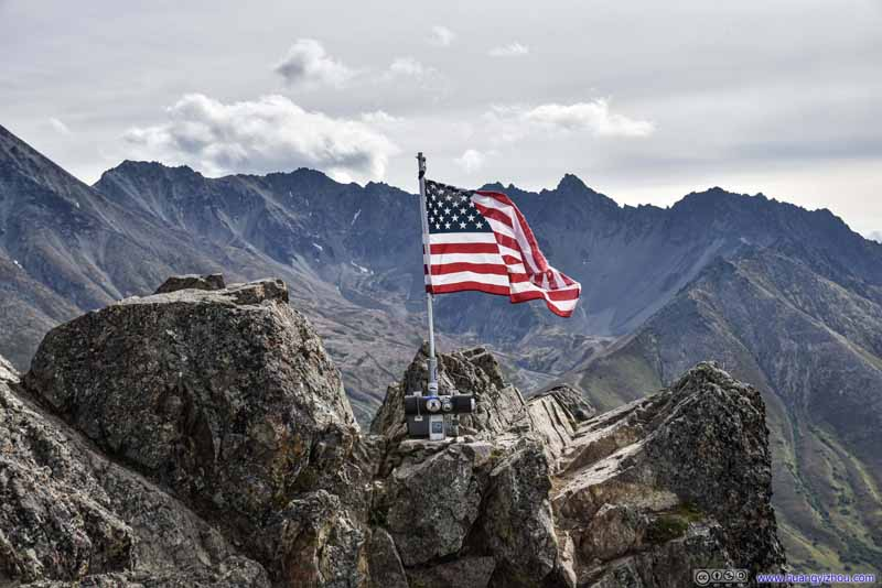 Flag at Lazy Mountain Summit