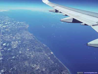 Flying over Lake Michigan