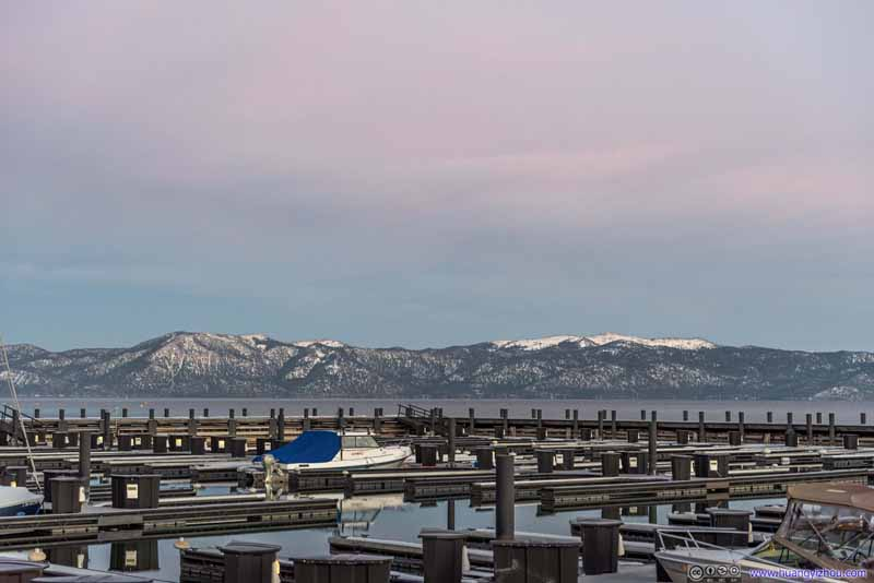 Mountains beyond Tahoe City Marina