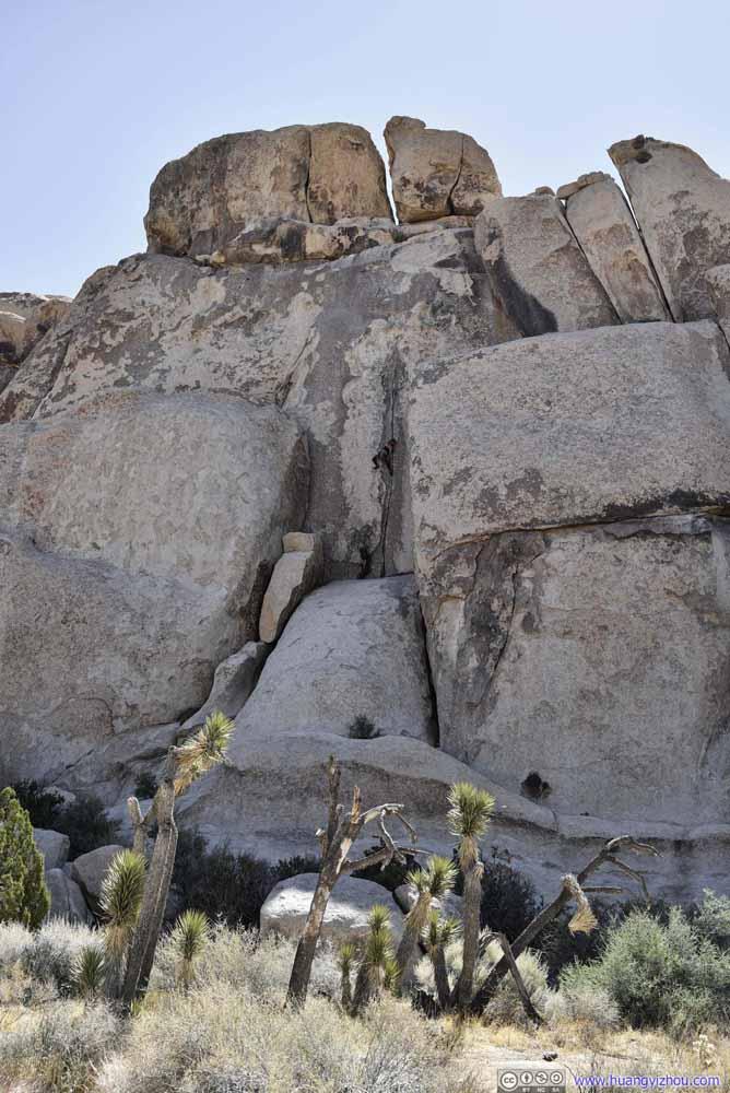 Climbers Scaling Boulder